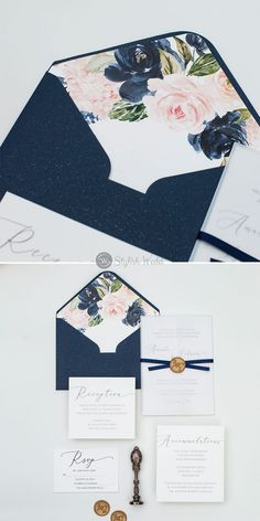 A flowing calligraphy font and romantic florals in the envelope make a dramatic statement on this elegant wedding invitations.