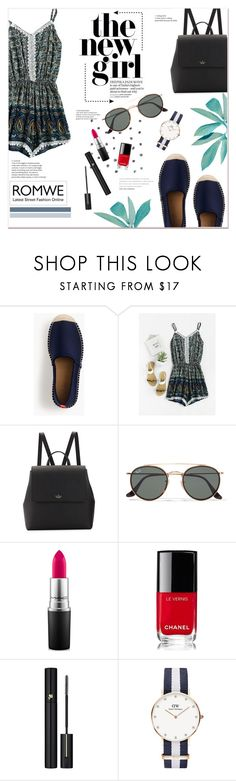 """""""Romwe contest"""" by here-comes-caroline ❤ liked on Polyvore featuring J.Crew, Kate Spade, Ray-Ban, MAC Cosmetics, Chanel, Lancôme and Daniel Wellington"""