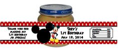 Mickey Mouse Baby Food Jar Birthday Party Labels Favors Personalized Custom