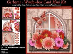 Gerberas Windowbox Card Mini Kit on Craftsuprint - View Now!