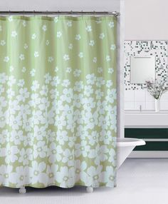 Embossed Fabric Shower Curtain : Green and White, Floral Design