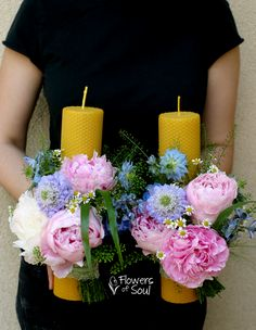 Baptism Candle, Delphinium, Nigella, Pillar Candles, Tweety, Traditional, Table Decorations, Business, Flowers