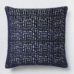 Allover Crosshatch Jacquard Velvet Pillow Cover - Nightshade   west elm