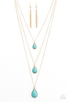Mountain Tears - Blue Item #P2SE-BLGD-228XX  Turquoise teardrops trickle down the chest in shimmery layers. Featuring a polished finish, the stone pendants gradually increase in size for a tranquil finish. Features an adjustable clasp closure.  Sold as one individual necklace. Includes one pair of matching earrings.Mountain Tears - Blue