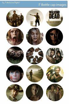"""Folie du Jour Bottle Cap Images: Walking Dead free digital bottle cap images 1"""""""