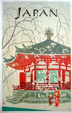 Japanese Travel Bureau 1950's Vintage Poster Art Print Japanese Travel 11x17