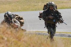 United States Air Force Pararescue Jumpers in action.