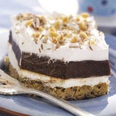 "Chocolate Chip Cookie Delight Recipe. Pinner said: ""The only dessert recipe you will ever need for any potluck. Trust me. It is like heaven. Chocolate cookie dough, whipped cream, chocolate pudding layer and cream cheese layer. Super easy too!"""