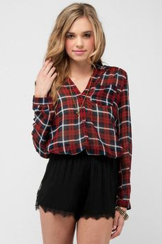 Scottie Plaid Chiffon Button Down Shirt in Red and Navy $41 at www.tobi.com
