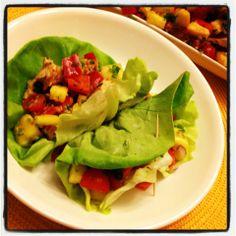 Grilled Chicken Teriyaki & Pineapple Salsa Lettuce Wraps