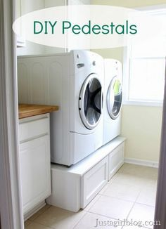 Laundry Room Pedestals We saved over $400 by building our own pedestals for our washer and dryer. We spent a little more money in or...