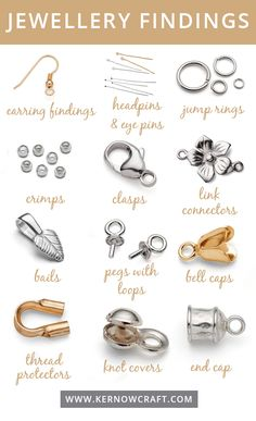 Jewelry Findings Guide - This guide shows you the most popular jewelry . - Jewelry Findings Guide – This guide shows you the most popular jewelry that you can use for your - Diy Jewelry To Sell, Jewelry Tools, Wire Jewelry, Jewelry Crafts, Beaded Jewelry, Jewelry Armoire, Jewelry Accessories, Jewelry Ideas, Handmade Jewellery