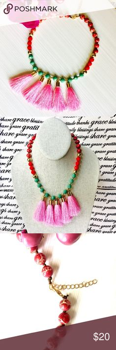 🌻🎋Pink Tassel Collar Necklace Adjustable Beaded collar Bibb necklace with silk tassels. Jewelry Necklaces