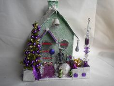 Vintage Inspired Putz Glitter House for your Christmas Village in Green, Tinsel Tree, double mercury beads. $25.00, via Etsy.