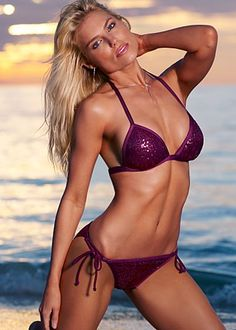 Sequin Enhancer Triangle top and Sequin String Bottom bikini in plum (also available in aquamarine, cobalt, emerald, jet black, lipstick pink, and white)