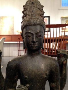 Antique Bronze Statue Of Bodhisattva Avalokitesvara Thailand   From a unique collection of antique and modern metalwork at https://www.1stdibs.com/furniture/asian-art-furniture/metalwork/