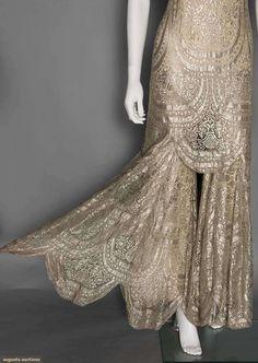 Ephemeral Elegance | Metallic Lace Evening Jumpsuit and Velvet Bolero,...