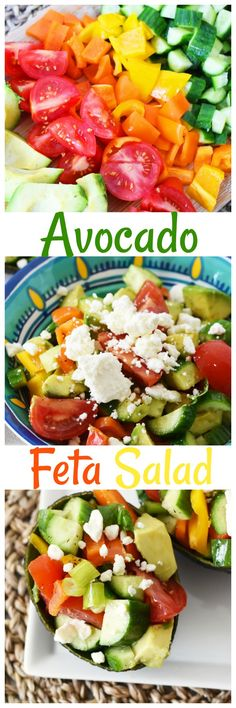Avocado Feta Salad- A healthy and easy to prepare summer salad that can be prepared in minutes. Store it in an airtight container for 2-3 days of meals! AD via @savvysavingcoup
