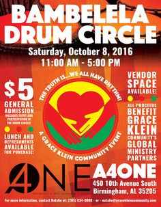 Promotional piece created for Grace Klein Community's Bambelela Drum Circle fundraiser. | Created by David Fallin. #graphicdesign #nonprofit #drumcircle #birmingham