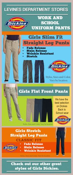 Dickies Pants for girls! School Uniforms, work or for play Levines has the Dickies Pants you need in many styles, colors, and fits.