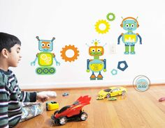 Robots Wall Decals and Stickers, Large Size, Nursery Decor, Baby Room, Play room ideas.
