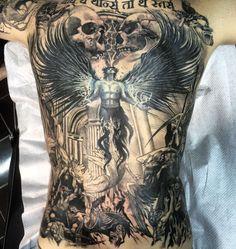 Rodriguez Tattoo Studio Battle demons and angels #darktattoo #realistictattoo #blackandgrey #rodrigueztattoo