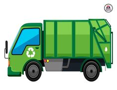 Garbage truck in green color vector image on VectorStock