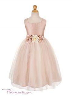 Dusty Rose Silk Bodice with Tulle Skirt Flower Girl Dress