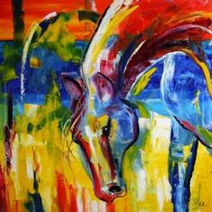 Haunted Reds One Equine Horse Abstract Art by Laurie Justus Pace by artist Laurie Justus Pace, on DailyPainters.com