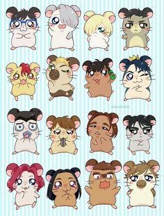 Kawaii Yuri On Ice Hamsters! Hamtaro, Victor Y Yuri, Yuri On Ice Comic, Yuri!!! On Ice, Otaku, Katsuki Yuri, Mundo Comic, Yuri Plisetsky, Anime Costumes