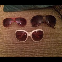 Set of 3 sunglasses from H&M Bundle of 3 sunglasses from H&M. Red aviator sunglasses, brown aviator style sunglasses and white outline sunglasses with brown lens. If interested in just one of these please let me know! H&M Accessories Glasses