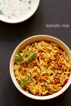 tomato rice recipe - spicy south indian tomato rice recipe with step by step photos.  #tomato #rice