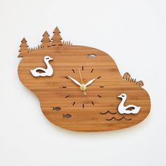 Unique clock - Lake scenery with two swans - fun decorative wall clock - retro modern