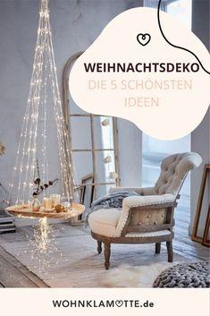 Die Vorfreude auf Weihnachten steigt und wir genießen es in vollen Zügen, dass wir uns mit Lichterketten, Weihnachtskugeln und Kerzen bei der Weihnachtsdeko so richtig austoben dürfen. Erfahre, welche Dekoration Du zu Weihnachten – egal ob für Drinnen oder Draußen – in diesem Jahr basteln und nähen kannst. House Design, Diy, Furniture, Winter, Christmas, Home Decor, Indoor, Don't Care, Fairy Lights