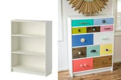 These 23 IKEA BILLY bookcase hacks share how you can transform your home with customized storage that fits your space, style, and budget.: BILLY Bookcase Becomes Dresser