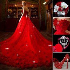 Vestido de novia color rojo  Marcar diferencia