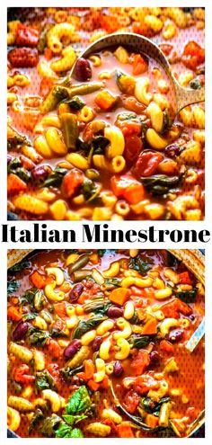 Italian Minestrone Soup - Baker by . Italian Soup Recipes, Winter Food, Chana Masala, Paella, Chili, Curry, Easy, Cooking Recipes, Dinner