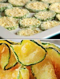 Abobrinha de forno crocante com queijo parmesão ,ela fica bem crocante, deliciosa pode até dizer que é o chips de abobrinha, os procedimentos para o preparo é muito simples..