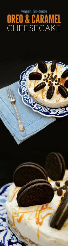 Vegan No-Bake Oreo and Caramel Cheesecake. No tofu, no cashew, just pure luxury and so easy too. You are going to swoon!! www.tinnedtomatoes.com #dairy-free