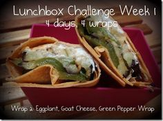 Eggplant, Goat Cheese, Green Pepper Wrap for your George Foreman Grill - Lunchbox Challenge