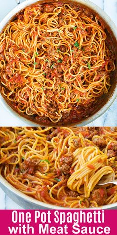 spaghetti recipes Quick and easy one pot spaghetti with meat sauce recipe that takes 20 mins to make. The delicious meat sauce is loaded with ground beef and made from scratch! Spaghetti Beef Recipe, One Pot Spaghetti, Spaghetti Meat Sauce, Spaghetti Recipes, Simple Spaghetti Recipe, Making Spaghetti, How To Make Spaghetti, Spaghetti Noodles, One Pot Pasta
