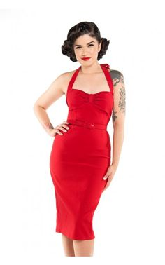 Pinup Couture - Dames Dress in Red Bengaline | Pinup Girl Clothing