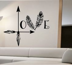 Arrow Feather Love Wall Decal namaste Vinyl Sticker Art Decor Bedroom Design Mural home decor room decor trendy modern
