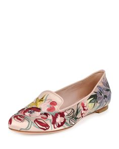 Alexander McQueen Floral-Embroidered Satin Loafer, Nude/Multi