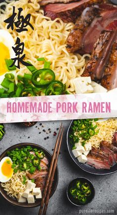 Homemade Pork Ramen Try this traditional Japanese ramen soup recipe for dinner or lunch. Made with broth, eggs, pork shoulder, and tofu, for a healthy and delicious culinary experience. Healthy Pork Recipes, Asian Recipes, Soup Recipes, Vegetarian Recipes, Noodle Recipes, Detox Recipes, Japanese Dinner, Japanese Ramen, Japanese Food