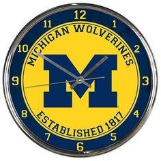 Michigan Wolverines Round Chrome Wall Clock