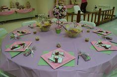 Table Setup - Pink and Green Ladybug Baby Shower
