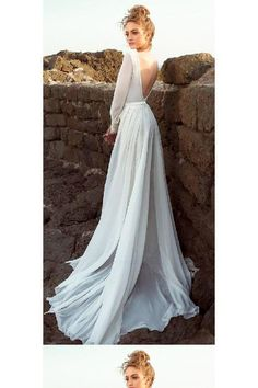 Wedding Dress For Cheap, Chiffon Wedding Dress, Long Sleeves Wedding Dress, Wedding Dress Backless #Wedding #Dress #Backless #For #Cheap #Long #Sleeves #Chiffon Wedding Dresses 2018