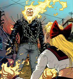 Ghost Rider (Marvel War Of Heroes) Comic Book Artists, Comic Books Art, Comic Art, Marvel Dc, Spirit Of Vengeance, Comic Frame, Ghost Rider Marvel, Marvel Comic Character, Manga Characters