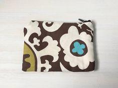 Suzani Pattern Zippered Coin Pouch Fabric Change Purse